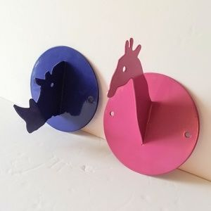 Other - Animal Wall Hooks Rhino Giraffe Pink Blue Metal